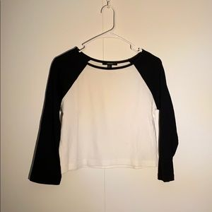 F21 Black & White Cropped Baseball Tee